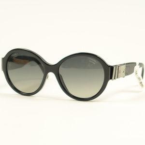Chanel 5283Q Black Silver Bow Polarized Sunglasses